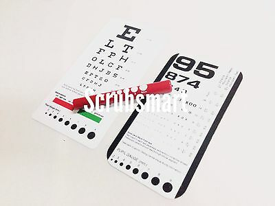 RED Pupil Gauge LED Penlight + Snellen + Rosenbaum Pocket Eye Charts - 3 Pieces