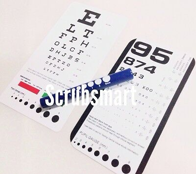 BLUE Pupil Gauge LED Penlight + Snellen + Rosenbaum Pocket Eye Charts - 3 Pieces