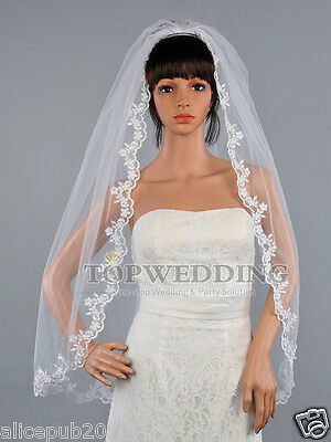 New Classic 1T White Lace Edge Fingertip Length Bridal Wedding Veil w/ Hair Comb