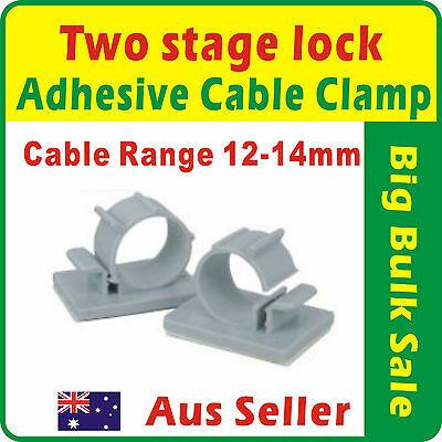20 x Two Stage Lock Adhesive Nylon Wire Cable Clamp Range 12-14mm
