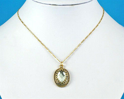"""Oval Faceted Glass Jewel Vintage Design Pendant Gold 18"""" Figaro Chain Necklace"""