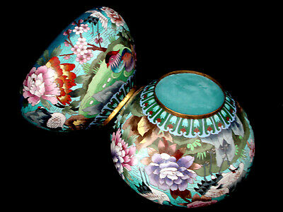 "12"" D Pair Of Chinese Republic Period Cloisonne Bowl /  Flower Pot"