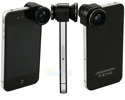 3 IN1 Phone Lens Fish eye + Macro + Wide Angle Lens For iPhone 4 4S