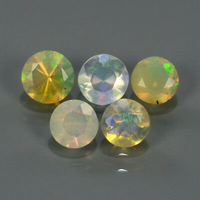 """Natural 5pcs 0.77ct Lot Round Red-Orange & Rainbow """"Play Of Colour"""" OPAL #300830"""