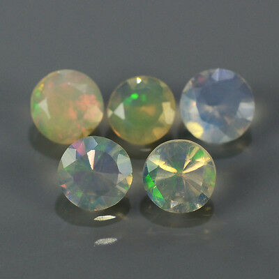 """Natural 5pcs 0.66ct Lot Round Red-Orange & Rainbow """"Play Of Colour"""" OPAL #300824"""