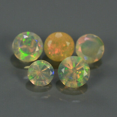 """LOT 5pcs/0.69ct Round Natural Red-Orange & Rainbow """"Play Of Colour"""" OPAL #300819"""