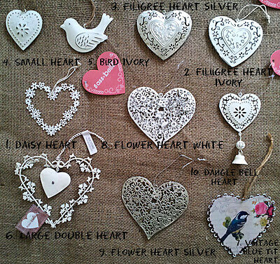 VINTAGE Shabby Chic Style HANGING HEART WEDDING FAVOUR DECORATION White Silver