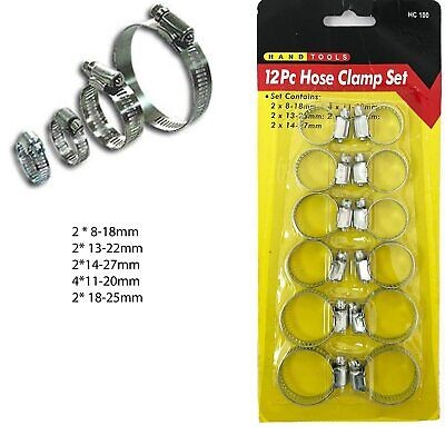 12 Hose Clamp Band Clips Jubilee Type Pipe Steel Clamps Plumbing Grip Worm Gear