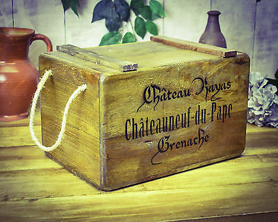 Vintage antiqued wooden box, crate, Grenache Wine Chest