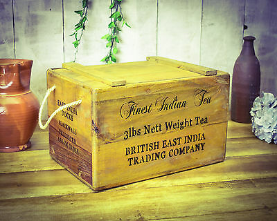 Vintage antiqued wooden box, crate, Tea Imports  Chest