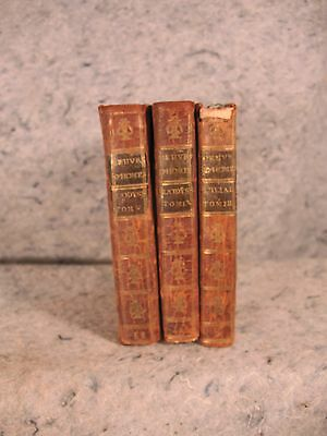lot of 3 rare antique old little leather books Homer 1787 1788 French language