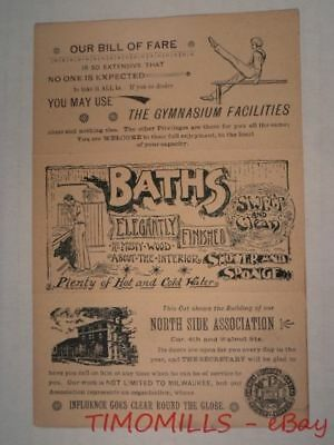 c.1895 Milwaukee YMCA Advertising Trade Card Brochure Antique Mt Sinai Hospital