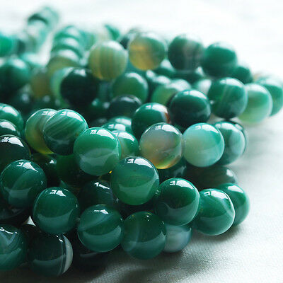 "16"" Semi Precious Gemstone Green Banded Agate Round Beads 4 - 10mm"