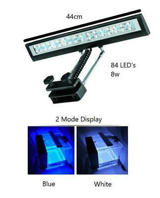 SILVER 8w Hidom Clip On Aquarium LED Two Mode Overhead Lighting Lamp Lights • EUR 27,22