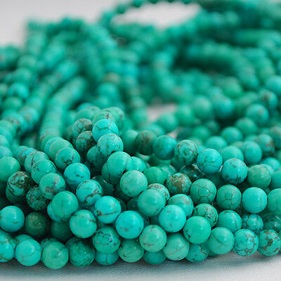 "16"" Semi Precious Gemstone Green Turquoise Round Beads  4mm, 6mm, 8mm, 10mm"