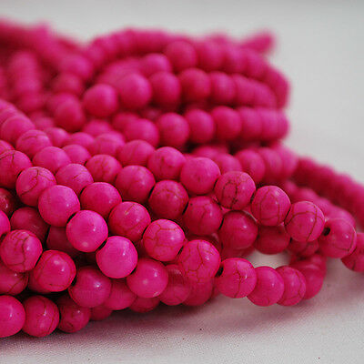 "16"" Semi Precious Gemstone Pink Turquoise Round Beads  4mm, 6mm, 8mm, 10mm"