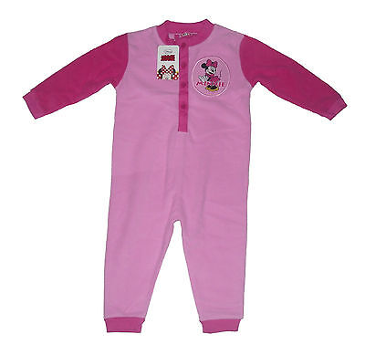 Girls Jumpsuit All In One Fleece Pyjamas Disney Minnie Mouse