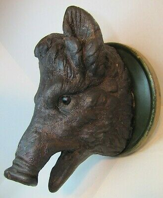 Antique Black Forest Hand Carved Wood Boars Head Mount fabulous ornate Unique