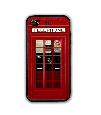 VINTAGE UK LONDON RED TELEPHONE BOOTH RUBBER CASE COVER For iPhone X 8 7 6S SE 5