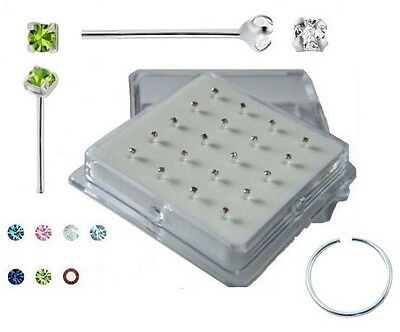 20 x 925 Sterling Silver Coloured/Clear Clawset Crystal Nose Studs 10 Colour 925