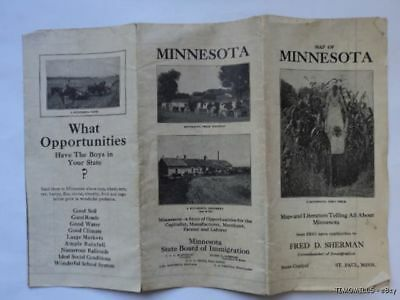 1913 Minnesota State Board of Immigration Folding Map Antique Color
