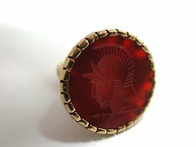 Very Nice Vintage Old Style 9ct Gold Cornelian Agate Roman Centurion Seal Fob
