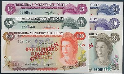 "Bermuda 1978-1984 Queen ""specimen"" Unc $1,5,10,20,50, & 100 Collection Bq8202"