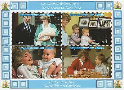 ROYAL BABY PRINCE GEORGE KATE AND WILLIAM CHARLES AND DIANA MNH STAMP SHEETLET