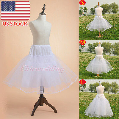 Kids Flower Girls Bridal White Petticoat Underskirt Crinoline Slips(US STOCK)