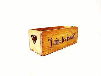Vintage antiqued wooden box, crate, trug,  SMALL BOX,  J aime le chocolat