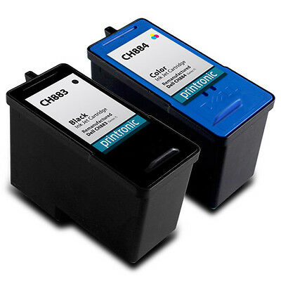 2 PK Dell CH883 CH884 Series 7 HY Black Color Ink Cartridge 966 968 968w