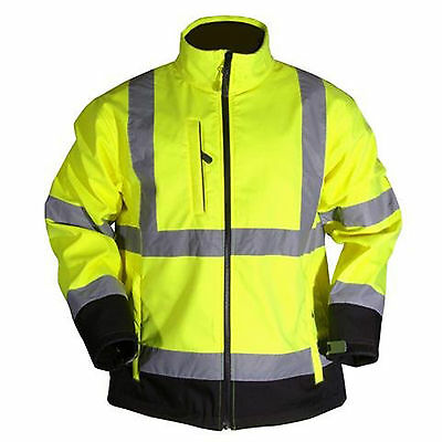 Yellow Hi Vis High Viz Visibility Two Tone Soft Shell Safety Jacket Work Coat