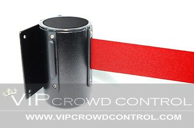 "Wallmount Stanchion, 96"" Red Belt, Black Tuff Tex, Vip Crowd Control"
