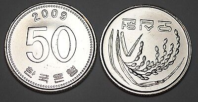 2009 South Korea 50 Won Coin BU Very Nice  KM# 34
