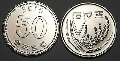 2010 South Korea 50 Won Coin BU Very Nice  KM# 34