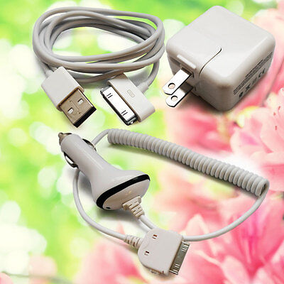 10W USB Data Cable + Car Charger + Wall AC Power Adapter for iPad 1 iPad 2 3