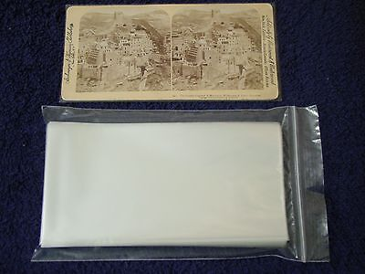 500 STEREOVIEW/Stereoscopic Photo SLEEVES Pack/Lot ~ 1.5 Mil Poly ARCHIVAL SAFE