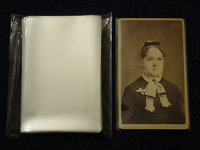100 CDV Carte De Visite Photo SLEEVES Pack/Lot ARCHIVAL SAFE Quality 1.5mil Poly