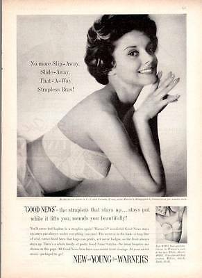 "1959 Warners ""New and Young"" Strapless Bra PRINT AD"