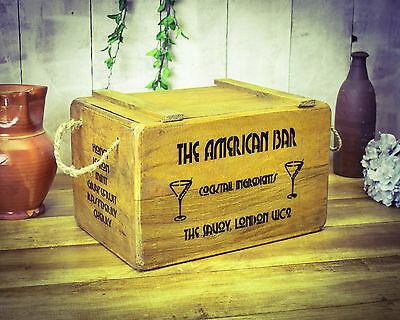 Vintage antiqued wooden box, crate,  1920's Cocktail Bar