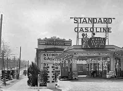 Standard AMOCo Gas Station Advertising Sign Vintage photo print  1929
