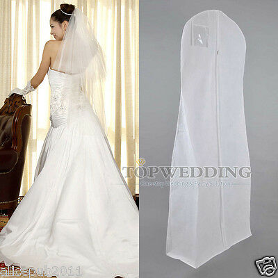 New White Wedding Garment Bag Bridal Gown Prom Dress Suit Storage Travel Cover