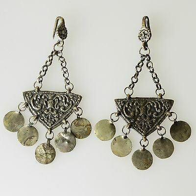 Amazing Antique Ottoman Empire Womens Bronze Earrings Ornaments Islamic Turkey