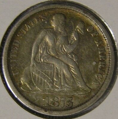 1875 Cc Silver Seated Liberty Dime,   Af 934
