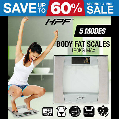 HPF Digital Body Fat Scale Bathroom Gym Weight LCD Electronic Water Glass 180KG