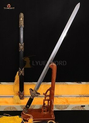 "High Quality Folded Steel Chinese Sword ""jian' 劍 Hand Carved Brass Fitting Sharp"