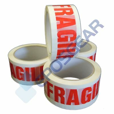 6 Rolls 48mm x 66m White Red Quality Strong Long FRAGILE Parcel Packing Tape