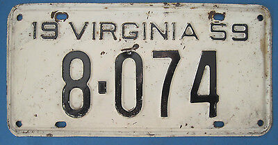 1959 Virginia License Plate - neat, low, 4-digit number!