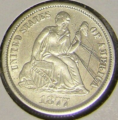 1877 Cc Silver Seated Liberty Dime,   Af 924