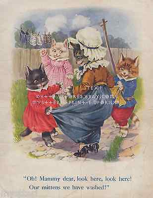 Mammy Dear-Three Little Kittens-ANTIQUE Vintage COLOR PRINT-Kids Room Picture